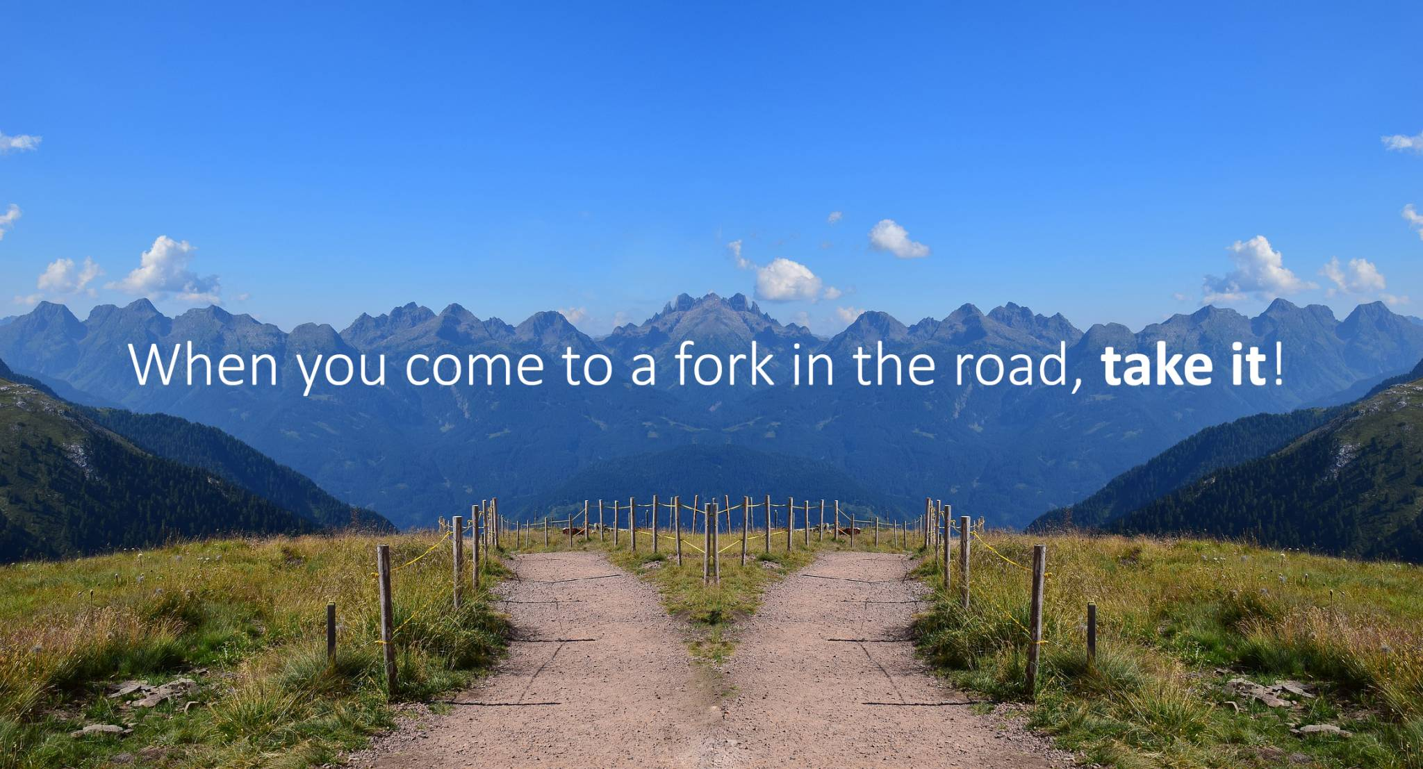 When you come to a fork in the road, take it